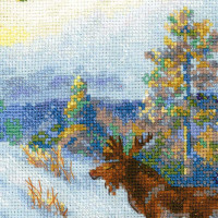 Riolis counted cross stitch Kit Moose in a Winter Forest after V. L. Muravyovs Painting, DIY