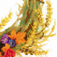 Riolis counted cross stitch Kit Wreath with Wheat, DIY