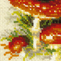 Riolis counted cross stitch Kit Stump with Fly Agaric, DIY
