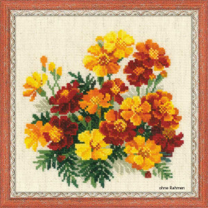 Riolis counted cross stitch Kit Marigolds, DIY