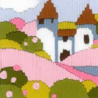 """Riolis Langstich-Set """"Rosa Garten"""", Stickbild vorgezeichnet"""