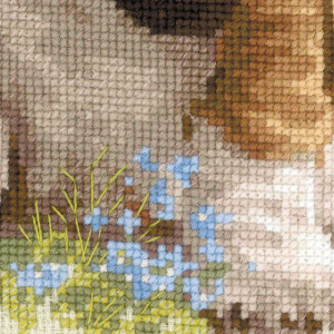 Riolis counted cross stitch Kit Baskit Hound Puppy, DIY