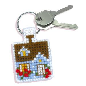 Riolis counted cross stitch Kit Keychain Cozy Cottage, DIY