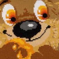 Riolis counted cross stitch Kit Teddy Bear Cushion, DIY