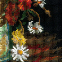Riolis counted cross stitch Kit Still Life with Meadow Flowers and Roses afterVanGoghsPainting, DIY