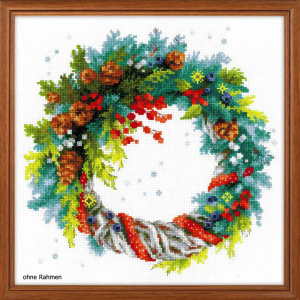 Riolis counted cross stitch Kit Wreath with Blue Spruce, DIY