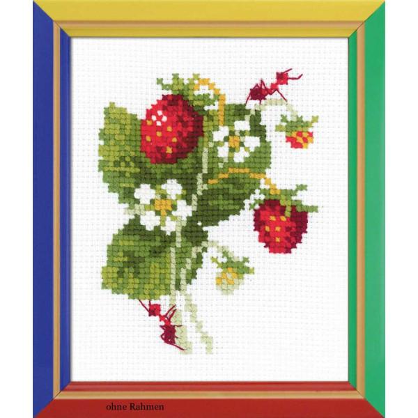 "Riolis Kreuzstich-Set /""Erdbeeren Garten/"" Zählmuster"