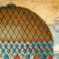 """Riolis Stickbild-Set """"Around the World"""", Bedruckte AIDA-Zählstoff, Zählmuster"""