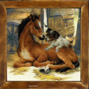 Riolis counted cross stitch Kit Foal and Puppy, DIY