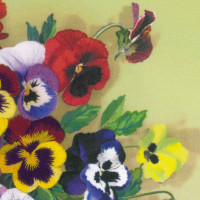 Riolis Satin-Stitch Kit Pansies. Satin Stitch, stamped, DIY