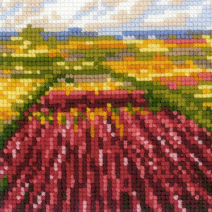 Riolis counted cross stitch Kit Tulip Fields after C. Monets Painting, DIY