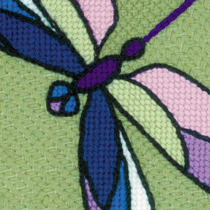 Riolis counted cross stitch Kit Cushion/Panel Stained Glass Window. Dragonflies, DIY