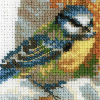 Riolis counted cross stitch Kit Plate with Great Tit, DIY