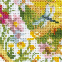 Riolis counted cross stitch Kit Plate with Oriole, DIY