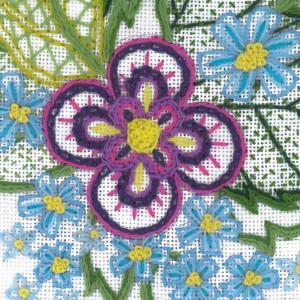 Riolis Stitch Kit Sketch with Cornflowers, stamped, DIY
