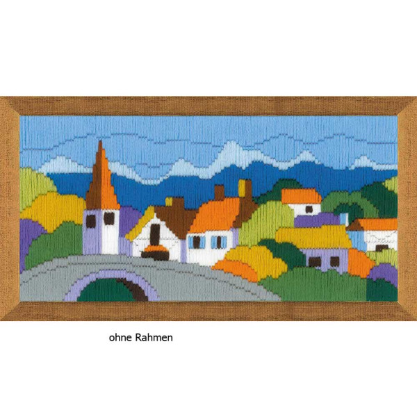 Riolis counted cross stitch Kit Town in the Mountains, DIY