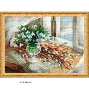 Riolis counted cross stitch Kit Willow and Snowdrops, DIY