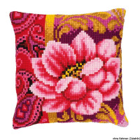Vervaco stamped cross stitch kit cushion Pink bloom, DIY