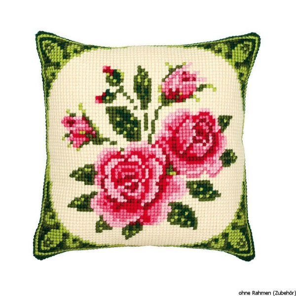Vervaco stamped cross stitch kit cushion Roses, DIY