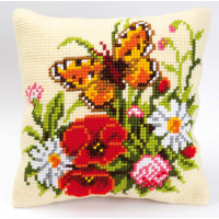 Vervaco stamped cross stitch kit cushion Flowers with a butterfly, DIY