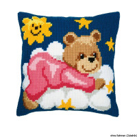 Vervaco stamped cross stitch kit cushion Pink bear on a cloud, DIY