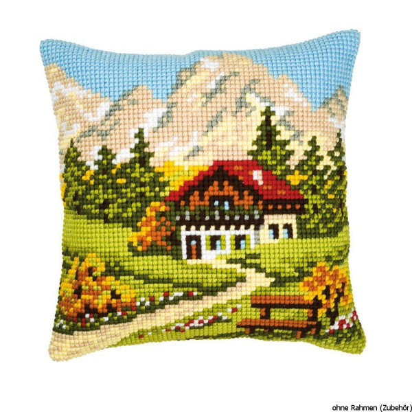 Vervaco stamped cross stitch kit cushion Mountain landscape, DIY