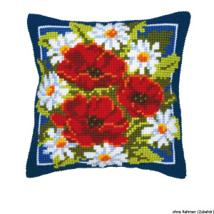 Vervaco stamped cross stitch kit cushion Red flowers, DIY