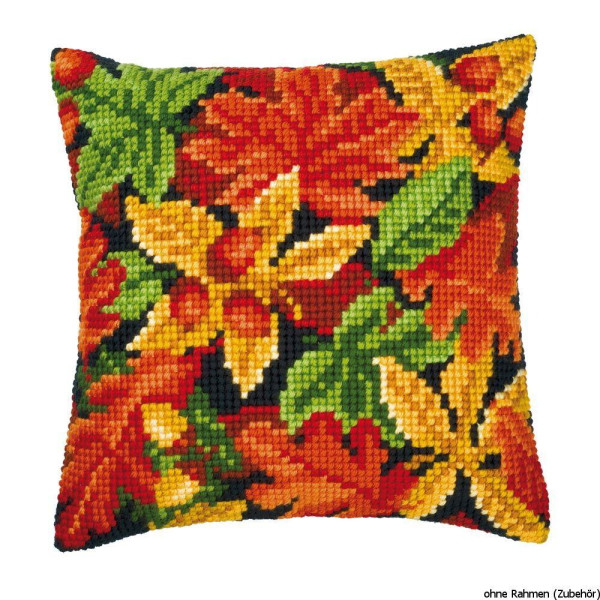 Vervaco stamped cross stitch kit cushion Autumn leaves, DIY