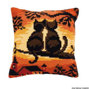 Vervaco stamped cross stitch kit cushion Cats on a...