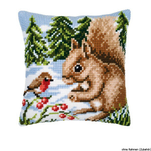 Vervaco stamped cross stitch kit cushion Squirrel in the...