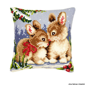 Vervaco stamped cross stitch kit cushion Rabbits in the...