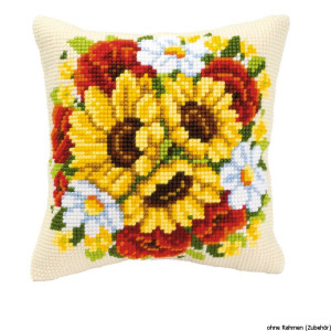 Vervaco stamped cross stitch kit cushion Floral posy, DIY