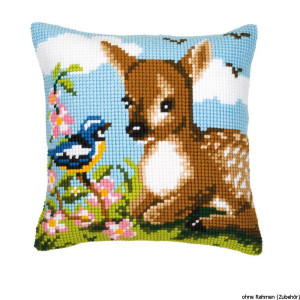 Vervaco stamped cross stitch kit cushion A little deer, DIY