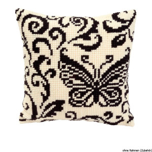 Vervaco stamped cross stitch kit cushion Black and white...