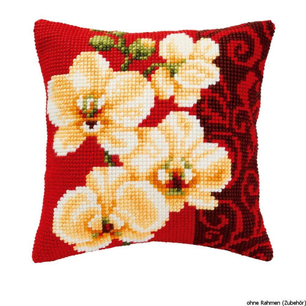 Vervaco stamped cross stitch kit cushion White orchids, DIY