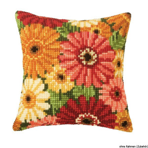 Vervaco stamped cross stitch kit cushion Summer flowers, DIY