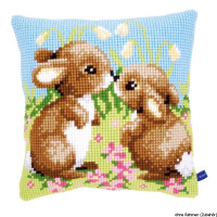 Vervaco stamped cross stitch kit cushion Little rabbits, DIY