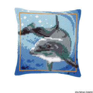 Vervaco stamped cross stitch kit cushion Dolphin, DIY