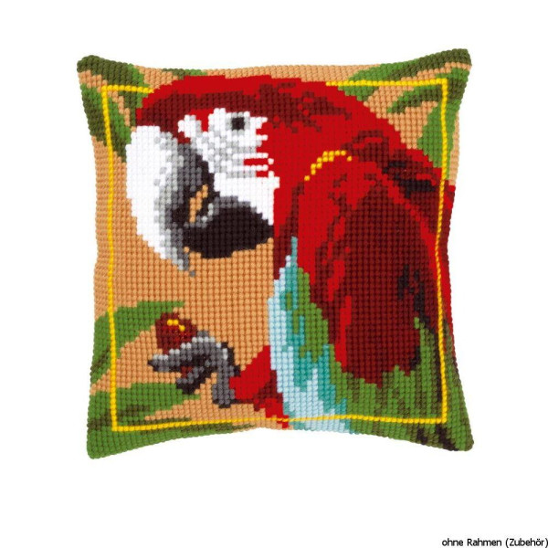 Vervaco stamped cross stitch kit cushion Red macaw, DIY