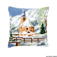 Vervaco stamped cross stitch kit cushion Church in the snow, DIY
