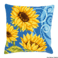 Vervaco stamped cross stitch kit cushion Sunflowers on blue, DIY