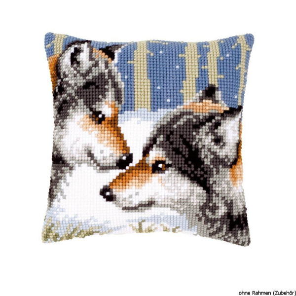 Vervaco stamped cross stitch kit cushion Wolves, DIY