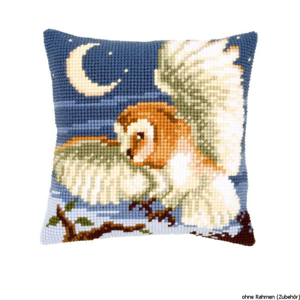 Vervaco stamped cross stitch kit cushion Owls on the hunt, DIY