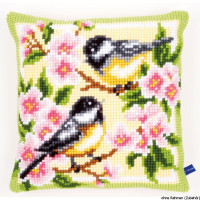 Vervaco stamped cross stitch kit cushion Birds and blossoms, DIY