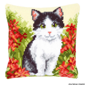 Vervaco stamped cross stitch kit cushion Cat in flower...