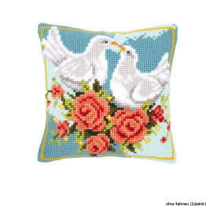 Vervaco stamped cross stitch kit cushion Doves in love, DIY