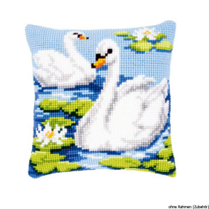 Vervaco stamped cross stitch kit cushion Swans, DIY