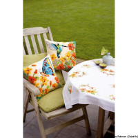 Vervaco stamped cross stitch kit cushion Hummingbird with flowers, DIY