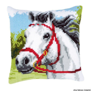 Vervaco stamped cross stitch kit cushion White horse, DIY