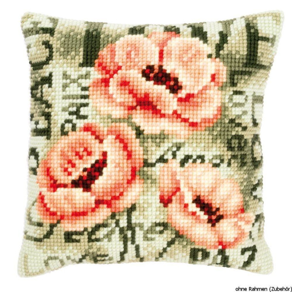 Vervaco stamped cross stitch kit cushion Poppies, DIY